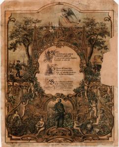 1873.gada dziesmu svētku plakāts ar Alunāna Čelakovska dzejoļa atdzejojumu